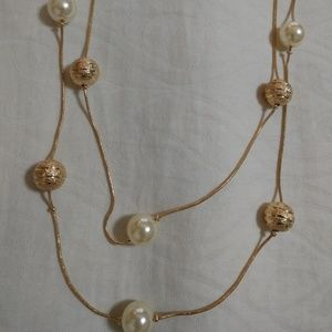 """21"""" Gold and Pearl Double-strand Necklace"""